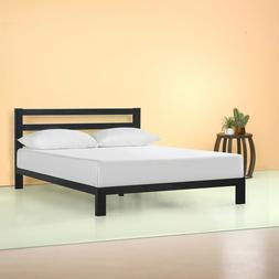 10 Inch Black Metal Platform Bed with Headboard, Multiple Si