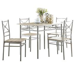Coaster 100035 5 Pc Dining Table And Chairs Set Brushed Silv