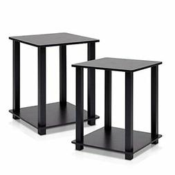Furinno 12127EX/BK Simplistic End Table, Espresso/Black, Set