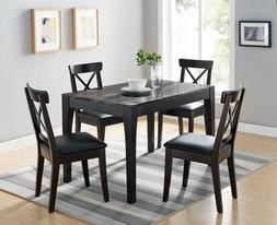 Smart Home 161799 Dining Table in Black and Faux Black Marbl