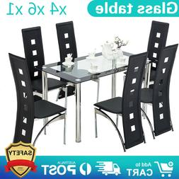 1X Dining Table 6 Chairs Glass Metal Kitchen Room Breakfast