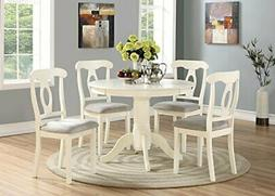 Angel Line 23511-21 5 Piece Lindsey Dining Set, White/Gray