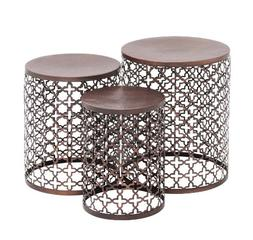 """Deco 79 23941 Metal Accent Tables , 20""""/18""""/16"""", Brown"""
