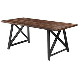 2xhome - Dark Wood - Modern Wood Table Grey Steel Metal Legs