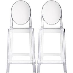 """2xhome Set of Two  - Clear - 25"""" Seat Height Barstool Modern"""