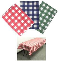 3 PACK FLANNEL VINYL TABLECLOTH Reusable Picnic Parks Party