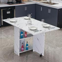 3 IN 1 Rolling Dining Table Set Kitchen Storage Trolley Room