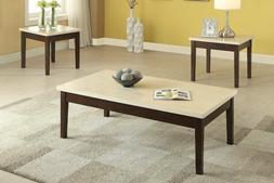 Poundex Coffee Table.Poundex 3 Pc Contemporary Clean Lines Cr