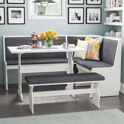 Dining Set Nook 3 pc Gray White Top Breakfast Corner Booth B