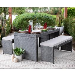 3 PC Outdoor Patio Dining Set 2 Benches & Dining Table Wicke