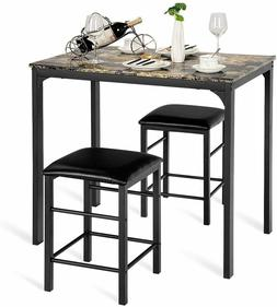 3 PCS Counter Height Dining Set Faux Marble Table 2 Chairs