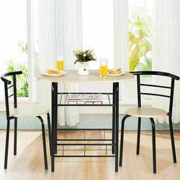 3 Pcs Dining Set 2 Chairs And Table Compact Bistro Pub Break
