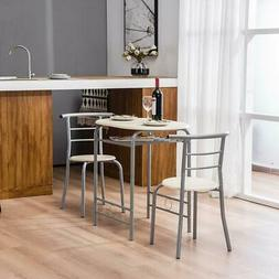 3 PCS Dining Table and 2 Chairs Set for Kitchen Dining Room