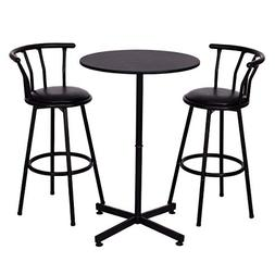 COSTWAY 3 Piece Bar Table Set with 2 Stools Bistro Pub Heigh