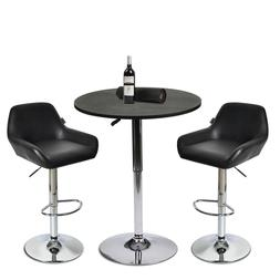 3 Piece Bar Table Stools Set Counter Height Adjustable Swive