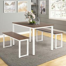 New 3 Piece Dining Table Set With 2 Benches Wooden Kitchen D