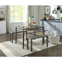 3-Piece Dining Set Includes 2 Benches With Durable PVC Finis