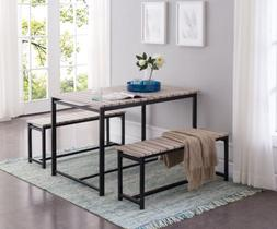 Kings Brand Furniture –3 Piece Dining Set, Table With 2 Be