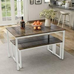 3 piece dining table set 2 bench
