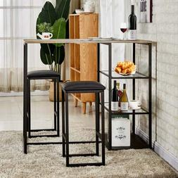3 Piece Dining Table Set With 2 Stools Kitchen Dining Room B