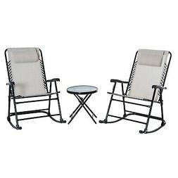 3 Piece Folding Rocking Chair Patio Dining Table Set- Cream