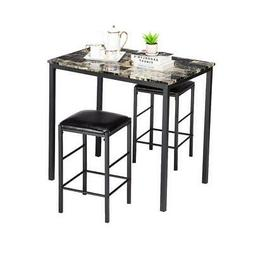 3 Piece Marble Dining Table Set 2 Leather Chairs Kitchen Bre