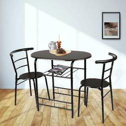 3-Piece MODERN DINING TABLE SET for 2 Chairs Metal Wood Kitc