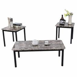 3 Piece Modern Faux Marble Coffee and End Table Set Living R