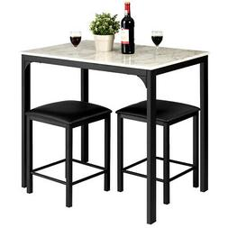3 Piece Counter Height Dining Set Faux Marble Table and 2 Ch