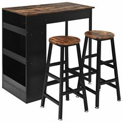 3 Pieces Bar Table Set Industrial Counter Height Dining Tabl