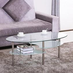 Yaheetech 3 Tier Modern Living Room Oval Glass Coffee Table