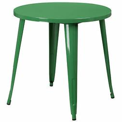 Flash Furniture 30'' Round Green Metal Indoor-Outdoor Table