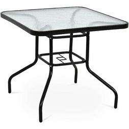 "32"" Patio Square Table Steel Frame Dining Table Patio Furnit"