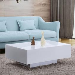 "33"" Modern High Gloss White Coffee Table Side End Table Livi"