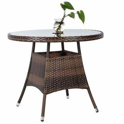 "36"" Round Outdoor Patio Furniture Wicker Dining Table with T"