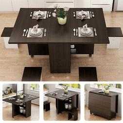 3IN1 Rolling Dining Table Set Kitchen Storage Trolley Room B