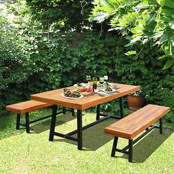 """3pc 71"""" Outdoor Picnic Table and Bench Set Picnic Desk Chiar"""