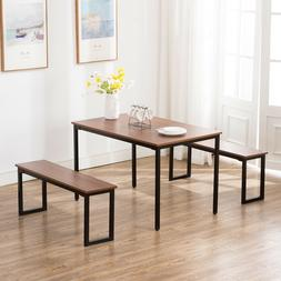 3PC Wood Kitchen Dining Table and Chairs Set Breakfast Nook