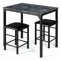 Topbuy 3PCS Counter Height Table Set 2 Chairs Bar Dining Roo