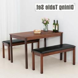 3PCS Dining Table Set w/ 2 Benches Pine Wood Desk Kitchen Di
