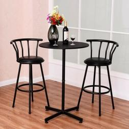 3PCS Home Kitchen Bar Table Set with 2 Stools Pub Breakfast