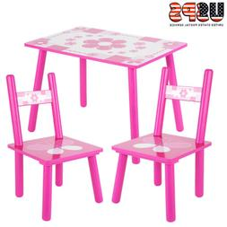 3pcs Kids Table and 2 Chairs Dining Set Toddler Baby Desk Fu