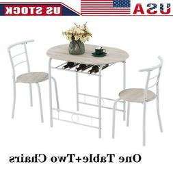 3Pcs PVC Dining Set Table 2 Chairs Bistro Pub Home Kitchen B