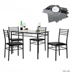 4 Black Kitchen Chairs Dining Table Set Steel Tempered Glass
