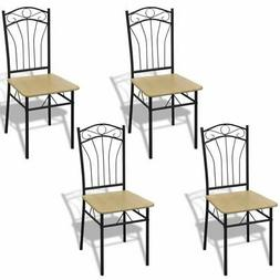 vidaXL 4 Dining Chairs with Steel Frame Light Brown