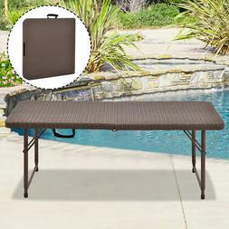 4' Folding Table Rattan Portable Indoor Outdoor Picnic Party