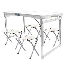 FrenzyBird 4-person Folding Picnic Table with 4 Chairs, Heig