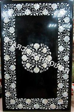 4'x3' Marble Table Tops Black Dining Table Handmade Mother O