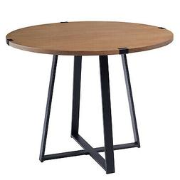 """40"""" Round Metal Wrap Wood Dining Table - English Oak and Bla"""