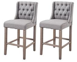 "HomCom 40"" Tufted Wingback Counter Height Armless Bar Stool"